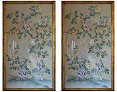 Gracie handprinted wallpaper panels - framed - dining room wall?