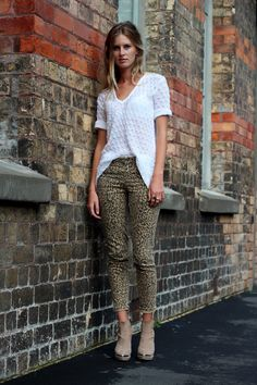 #leopard_print pants, #vintage knit blouse, and leather/suede booties
