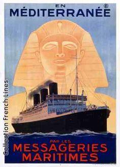 Les Messageries Maritimes, by Sandy Hook, ca. Retro Poster, Vintage Poster, Vintage Travel Posters, Vintage Postcards, Vintage Ads, Father Images, Tourism Poster, Old Advertisements, Nautical Art