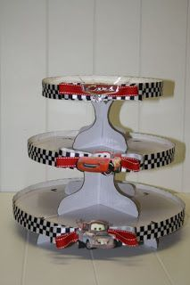 Cars dessert stand - no longer for sale, but pretty sure I can make this for Aiden if he has a Cars party this year. Pixar Cars Birthday, Race Car Birthday, Race Car Party, 3rd Birthday, Birthday Ideas, Disney Cars Cupcakes, Disney Cars Party, Car Themed Parties, Cars Birthday Parties