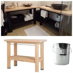Un meuble de salle de bain en bouleau avec desserte IKEA GROLAND (149€) ou à partir de la desserte BEKVÄM