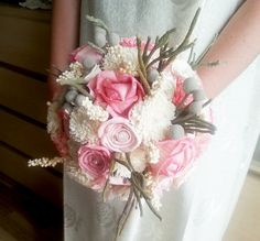 Cream pink rustic wedding BOUQUET natural Ivory sola Flowers, hand dyed pink, brunia berry, sorgo, satin ribbon, pearls, pastel, custom - pinned by pin4etsy.com