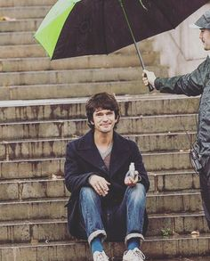 """""""Look I'm Ben-Adorable-Whishaw and I'm sitting in the stairs while someone else's holding my umbrella because and I am too cute. Did I say I am so adorable?"""""""