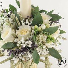 Lumanare botez trandafiri de gradina hortensii frezii - LB107 – YaU concept David Austin, Gypsophila, Christening, Floral Wreath, Concept, Wreaths, Candles, Table Decorations, Design