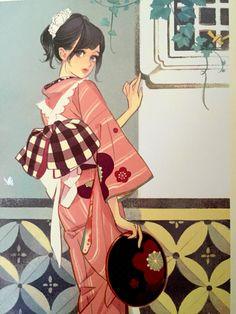 マツオヒロミ Art And Illustration, Illustrations And Posters, Anime Kimono, Manga Art, Anime Manga, Anime Art, Pretty Art, Cute Art, Grafiti