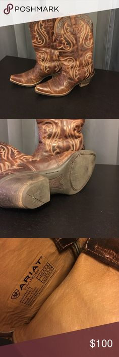 """Ariat Cowboy Boots They run small! Bought from Poshmark a few weeks ago and they did not fit. I'm an 8.5 but I can barely get them on! Too tight. I'd say smaller calves, size 7.5 or 8 could handle these genuine beauties! My loss can be your gain! Original seller comments: """"Normal wear, maybe worn 20 time."""" Ariat Shoes Heeled Boots"""