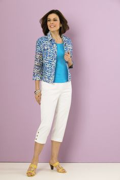 Linear burnout jacket with Counterparts capris. #SteinMart