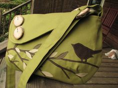 SALE SINGING BIRD on a branch shoulder bag /purse /messenger/ tote /school bag/ Olive Green off when buying 2 of any bags School Tote, School Bags, Green Purse, Fabric Bags, Cute Diys, Tote Handbags, Purses And Bags, Singing, Just For You