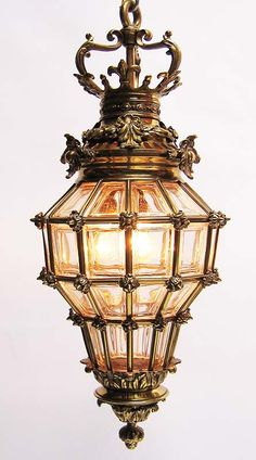 """A Fine and Large French 19th/20th Century Gilt-Bronze and Beveled Glass """"Versailles"""" Style Hanging Lantern. Circa: Paris, 1900."""