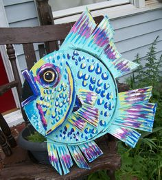 """Tropical Fish made entirely from Bushel Crab Baskets from the Eastern Shore 21"""" across by Dawn Tarr DAWN TARR ART"""