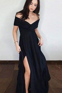 Elegant Prom Dresses, Off the shoulder Black Long Prom Dress with Slit Shop for La Femme prom dresses. Elegant long designer gowns, sexy cocktail dresses, short semi-formal dresses, and party dresses. Short Sleeve Prom Dresses, Split Prom Dresses, Prom Dresses 2018, Elegant Prom Dresses, Black Prom Dresses, Cheap Prom Dresses, Dresses For Teens, Dress Black, Dress Prom
