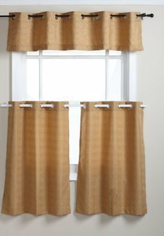 Regal Home 60-Inch by 12-Inch Basketweave Grommet Solid Texture 3-Piece Window Set Valance, Gold by Regal Home Collections. $14.99. Machine wash cold; gentle cycle; do not bleach; tumble dry low; iron on lowest setting as needed. 100-Percent polyester. Fits curtain rod up to 1-1/2-inch. Set includes 2 30-inch by 36-inch tier curtains and 1 60-inch by 12-inch window valance. This solid texture complete window set will give any room an updated modern look. Great for bathroo...