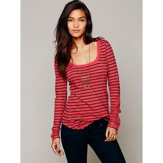 """Free People Red Hard Candy Embellished Sleeve Tee Free People Red Hard Candy Embellished Sleeve Tee Studded-lace sleeve insets contrast the classic striped aesthetic of a scoop-neck cotton tee. 28 1/2"""" length (size medium). Raw-edge neckline...new with tags, no trades. Free People Tops"""