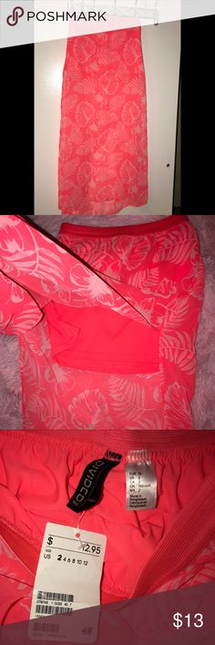 H&m coral pink skirt H&M Long coral pink skirt size 2 H&M Skirts