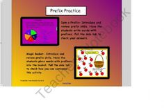 Practice with Prefixes Smart Board Lesson and activities product from Innovative-Resources on TeachersNotebook.com