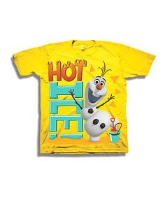 So cute to find Boys gear for Disney stuff! Yellow 'Hot Ice!' Olaf Tee - Toddler & Boys by Frozen #zulily #zulilyfinds