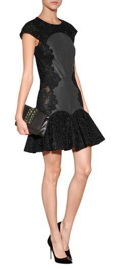 DESIGNER:ZUHAIR MURAD DETAILS HERE:Lace/Leather Dress in Black