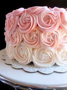 rose iced cakes | made a rose cake! But not just any rose cake--a pink ombre rose cake ...