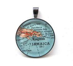 Vintage Map Pendant of Jamaica in Glass Tile by CarpeDiemHandmade ♥www.jsimens.com -helping families worldwide