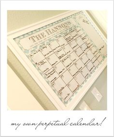 Personalized Wall-sized Perpetual Calendar with Patterned Background Options Family Chore Charts, Command Center Kitchen, Family Calendar, Perpetual Calendar, Classic Architecture, Family Organizer, Calendar Design, Dry Erase Markers, Do It Yourself Projects