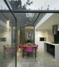 """Glazed extension London-based architects Platform 5 have been awarded the first prize in the refurbishment competition """"Don't Move, Improve"""" for their extension to a Victorian terraced house in Hackney, Lond. Extension Veranda, Glass Extension, Extension Ideas, Extension Google, Kitchen Extension Terraced House, Conservatory Extension, Cottage Extension, Extension Designs, Victorian Terrace House"""