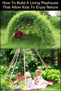 How to build a living playhouse that helps kids to understand nature Build a living playhouse and help your kids become nature lovers! Kids Backyard Playground, Backyard Playset, Backyard For Kids, Playground Ideas, Outdoor Play, Play Houses, Activities For Kids, Building, Nature