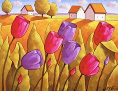 Art Print Large 11x14 by Cathy Horvath, Folk Art  Country Flowers Landscape, Easter Pink & Purple Spring Tulips, Giclee Artwork Reproduction by SoloWorkStudio on Etsy