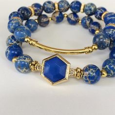 Gemstone Bracelets Stretch  Blue Sea Sediment by mSsDdesigns