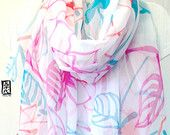 Hand Painted Silk Shawl, Japanese Floral Design, Pink, Turquoise, Red, White Silk Shawl, Silk Chiffon Japanese Scarf. 43x72 inches.