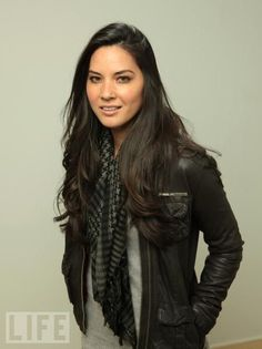 Olivia Munn - grey tee, scarf, leather jacket - who am i joking? that's what i wear on the daily