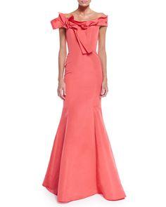 B327W Carolina Herrera Off-The-Shoulder Mermaid Gown, Coral