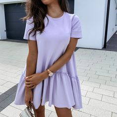 Buy Cheap Fashion Casual Solid Color Round Neck Fuffled Short Sleeve Women Dress Casual Short Sleeve Women Dress Summer Dress Women Online - Hplify