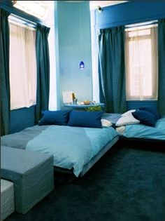 The Real Truth behind MTV's The Real World Houses - Former Girard Corn Exchange Bank Blue Bedroom