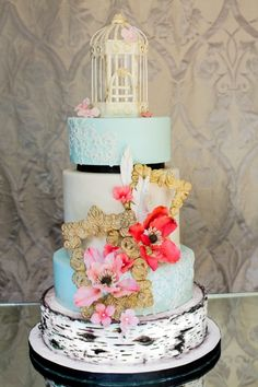 Vintage wedding cake with poppy pink, lace, gold, a birdcage and birch - it has EVERYTHING I want!