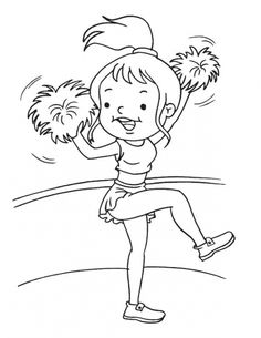 Funny little girl excited to be a Cheerleader coloring page