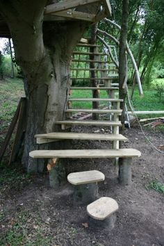 For the new treehouse...the rope ladder is a lot of work to climb!