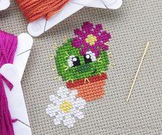 Chloe the Cute Cactus Cross Stitch Pattern PDF Prickly but Etsy Cactus Cross Stitch, Tiny Cross Stitch, Free Cross Stitch Charts, Cross Stitch Letters, Cross Stitch Cards, Simple Cross Stitch, Cross Stitch Borders, Modern Cross Stitch, Cross Stitch Flowers