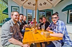 Our customers getting some sunshine and enjoying a lovely European style lunch outside on the patio. Come join us! http://bigrockgrill.com