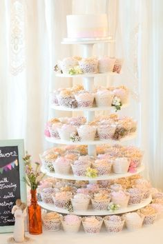 Cupcakes galore|Handmade Pink and Mint Wedding|Photo by: Amy & Jordan Photography on Glamour and Grace via Lover.ly Weddings