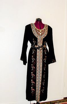 Black Silk chiffon Embroidered Caftan by KheGreen on Etsy