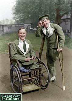 """""""Are we downhearted?"""" - Two disabled WWI vets at the no. 4 General Hospital, London 1918Original image source: IWM, Photographer George P. Lewis"""