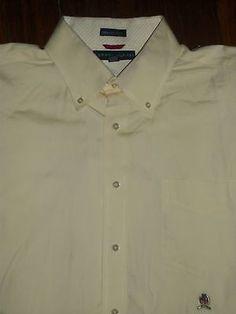 Tommy Hilfiger Men's Size XL Long Sleeve Button Front Shirt Logo Pocket Cotton