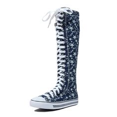 DW Women's Tall Canvas Lace up Knee High Sneakers *** Wonderful of your presence to have dropped by to visit the image. (This is our affiliate link) Knee High Sneakers, Knee High Boots, Sneaker Boots, Low Heels, Converse Chuck Taylor, Sneakers Fashion, Lace Up, Stars, Canvas