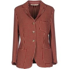 True Tradition Blazer (745 NOK) ❤ liked on Polyvore featuring outerwear, jackets, blazers, brick red, blazer jacket, three button blazer, red blazer, single breasted jacket and multi pocket jacket