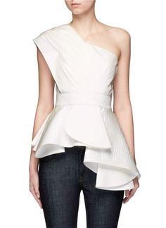 JOHANNA ORTIZ 'Alexander The Great' Belted Floral One-Shoulder Ruffle Top. #johannaortiz #cloth #top