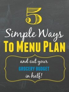 I started creating weekly menu plans for my family and shopping lists based on the meal plan. My monthly grocery budget was drastically reduced, immediately!