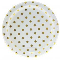 Piatti di carta bianchi a pois oro