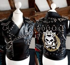 Alternative Clothing & Metal Clothing from UK based fashion designer My Little Halo. A range of studded leather pants, leggings, tops &. Look Rock, Rock Style, Jean Jacket Vest, Best Leather Jackets, Studded Leather Jacket, Metal Fashion, Witch Outfit, Rock Outfits, Band Shirts