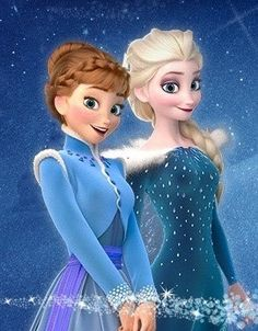 Elsa and Anna. I LOVE THEIR DRESSES!!! XD