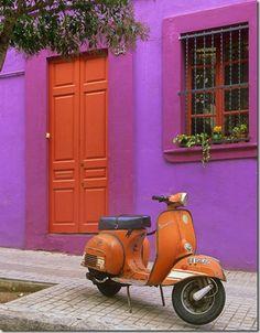 Orange pink house